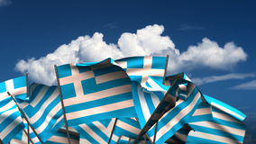 Waving Greek Flags stock video footage
