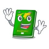 Waving green passport in the cartoon shape. Vector illustration stock illustration