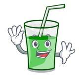 Waving green smoothie character cartoon. Vector illustration royalty free illustration