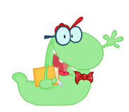 Waving Green Worm Student Carrying A Book. Green Worm Student Carrying A Book royalty free illustration