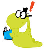 Waving Green worm student carrying a book Royalty Free Stock Photos