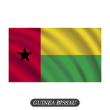 Waving Guinea Bissau flag on a white background. Vector illustration Royalty Free Stock Images
