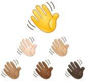 Waving hand sign emoji Stock Photo
