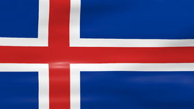 Waving Iceland Flag, ready for seamless loop Royalty Free Stock Photo