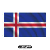 Waving Iceland flag on a white background. Vector illustration Royalty Free Stock Photos