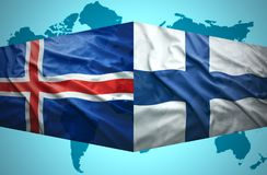 Waving Icelandic and Finnish flags. Of the political map of the world Royalty Free Stock Photos