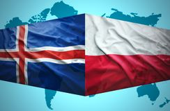 Waving Icelandic and Polish flags Stock Image