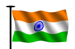 Waving Indian flag. With flag pole Stock Image