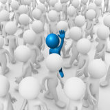 Waving inside a crowd. Computer generated image of an anonymous man waving inside a crowd Stock Photo