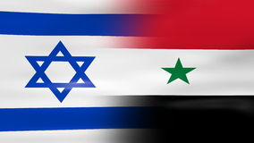 Waving Israel and Syria Flag, ready for seamless loop Royalty Free Stock Images