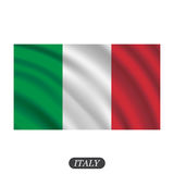 Waving Italy flag on a white background. Vector illustration Stock Photography
