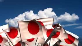 Waving Japanese Flags stock video