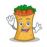 Waving kebab wrap character cartoon. Vector illustration vector illustration