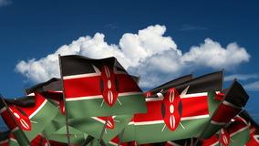 Waving Kenyan Flags stock footage