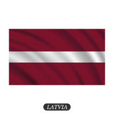 Waving Latvia flag on a white background. Vector illustration Stock Images