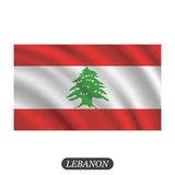 Waving Lebanon flag on a white background. Vector illustration Royalty Free Stock Photos