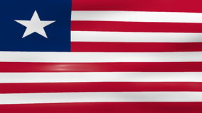 Waving Liberia Flag, ready for seamless loop stock footage
