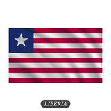 Waving Liberia flag on a white background. Vector illustration Royalty Free Stock Photos
