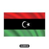 Waving Libya flag on a white background. Vector illustration Stock Photo