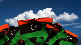 Waving Libyan Flags stock footage