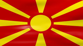 Waving Macedonia Flag, ready for seamless loop stock video footage