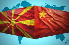 Waving Macedonian and Chinese flags Stock Photography