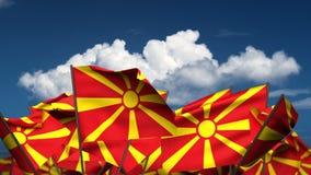 Waving Macedonian Flags stock video footage
