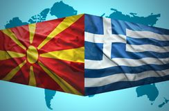 Waving Macedonian and Greek flags. Of the political map of the world Stock Illustration