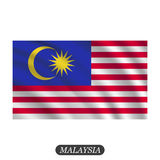 Waving Malaysia flag on a white background. Vector illustration Stock Images