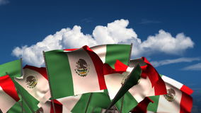 Waving Mexican Flags stock video