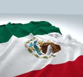 Waving mexico Flag. 3d render iustration of a Waving mexico Flag on white background royalty free stock images