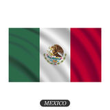 Waving Mexico flag on a white background. Vector illustration Stock Photo