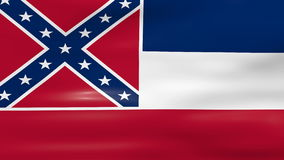 Waving Mississippi State Flag, ready for seamless loop stock video