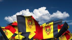 Waving Moldovan Flags stock video