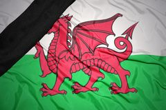 national flag of wales with black mourning ribbon Royalty Free Stock Photography