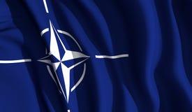 Waving NATO. A waving cloth presenting the North Atlantic Treaty Organization emblem Royalty Free Stock Image