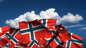 Waving Norwegian Flags stock video