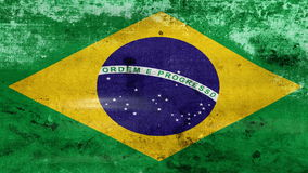 Waving old Brazil Flag, ready for seamless loop stock video footage
