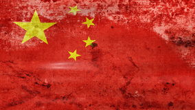 Waving old China Flag, ready for seamless loop stock video footage