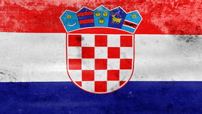 Waving old Croatia Flag, ready for seamless loop stock video footage