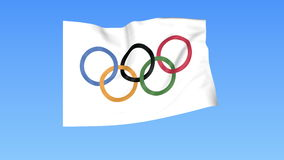 Waving Olympic flag, seamless loop. Exact size, blue background. Part of big flag set. 4K ProRes with alpha. Flapping flag of Olympic games, blue background royalty free illustration
