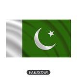 Waving Pakistan flag on a white background. Vector illustration Royalty Free Stock Photos