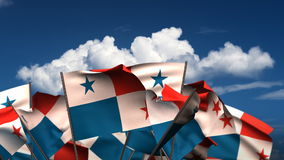 Waving Panamanian Flags stock video