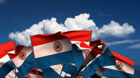 Waving Paraguayan Flags stock video