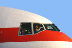 Waving pilot. Pilot of MD-11 is waving to you! Nice effect by wintersun Stock Image