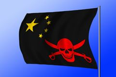 Waving pirate flag combined with Chinese flag. Waving black pirate flag with the image of Jolly Roger with cutlasses combined with colors of the Chinese flag Stock Photography
