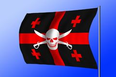 Waving pirate flag combined with Georgian flag. Waving black pirate flag with the image of Jolly Roger with cutlasses combined with colors of the Georgian flag Royalty Free Stock Photo