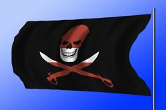Waving pirate flag combined with Latvian flag. Waving black pirate flag with the image of Jolly Roger with cutlasses combined with colors of the Latvian flag Stock Photos