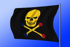 Waving pirate flag combined with Romanian flag. Waving black pirate flag with the image of Jolly Roger with crossbones combined with colors of the Romanian flag Stock Images