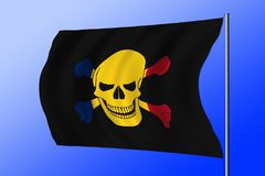 Waving pirate flag combined with Romanian flag. Waving black pirate flag with the image of Jolly Roger with crossbones combined with colors of the Romanian flag Royalty Free Stock Photography